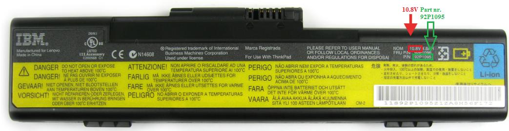 Reservedels nummer på batteri til bærbar