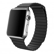 Apple Watch 1. gen - Sort læderrem 42mm str. L - Grade N